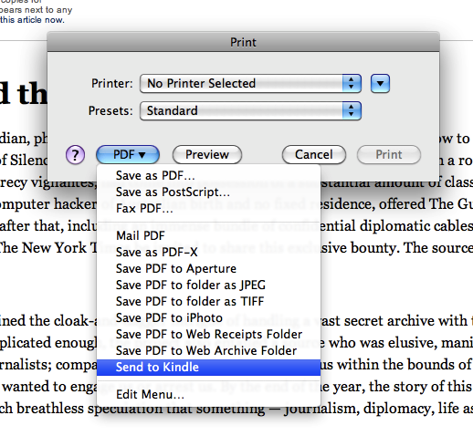OS X print dialog, with Send to Kindle option